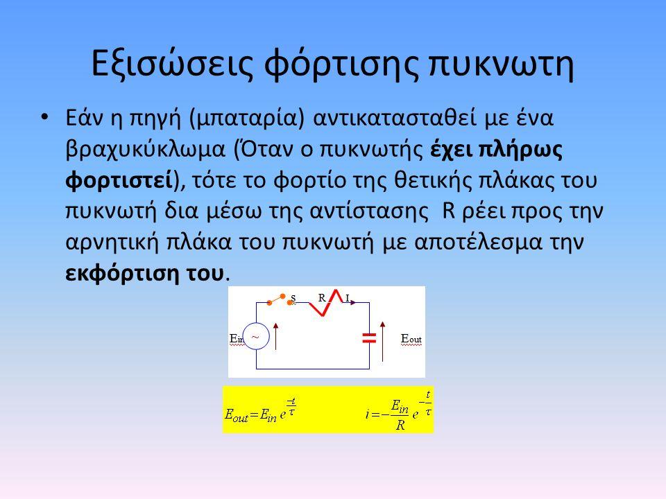 Εξισώσεις φόρτισης πυκνωτη