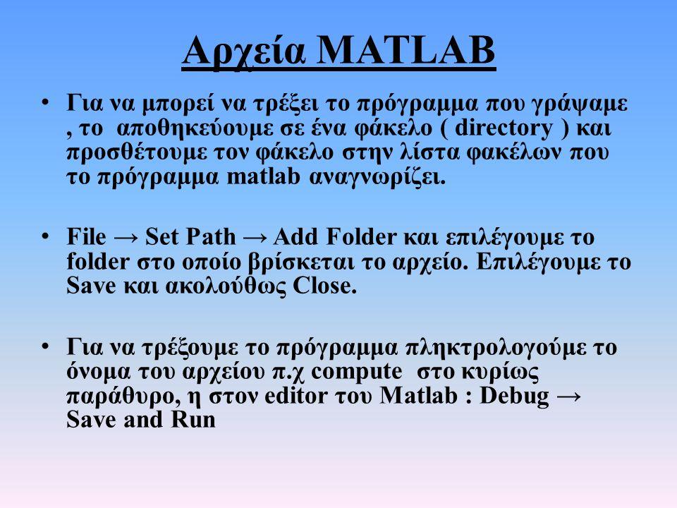 Αρχεία MATLAB