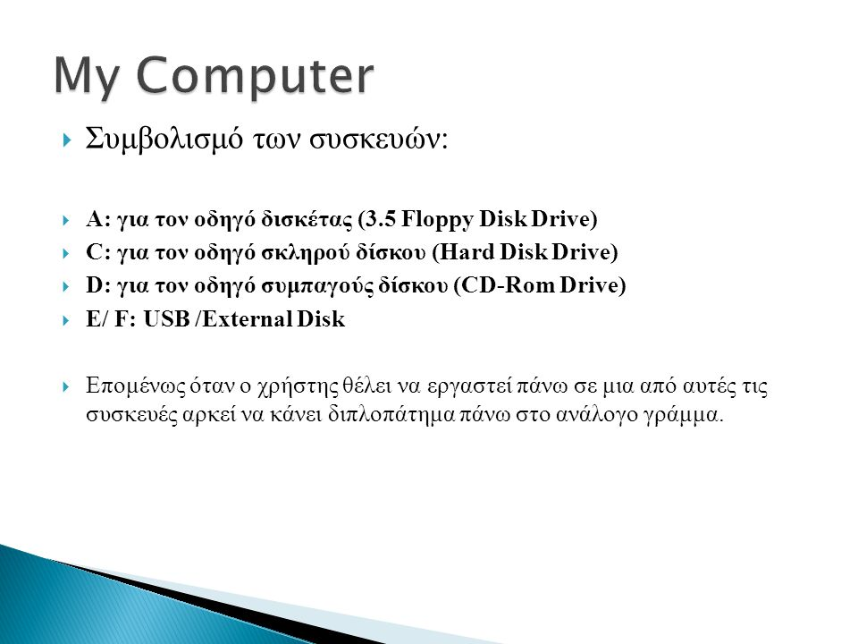 My Computer Συμβολισμό των συσκευών: