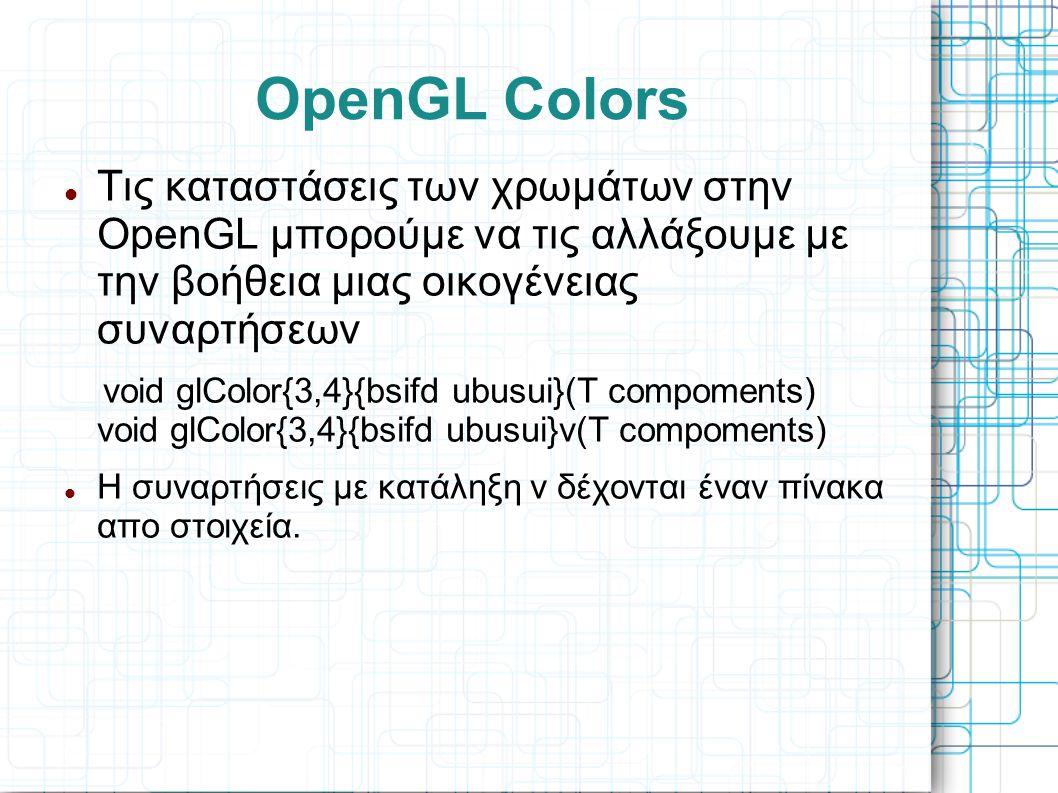 OpenGL Colors Τις καταστάσεις των χρωμάτων στην OpenGL μπορούμε να τις αλλάξουμε με την βοήθεια μιας οικογένειας συναρτήσεων.