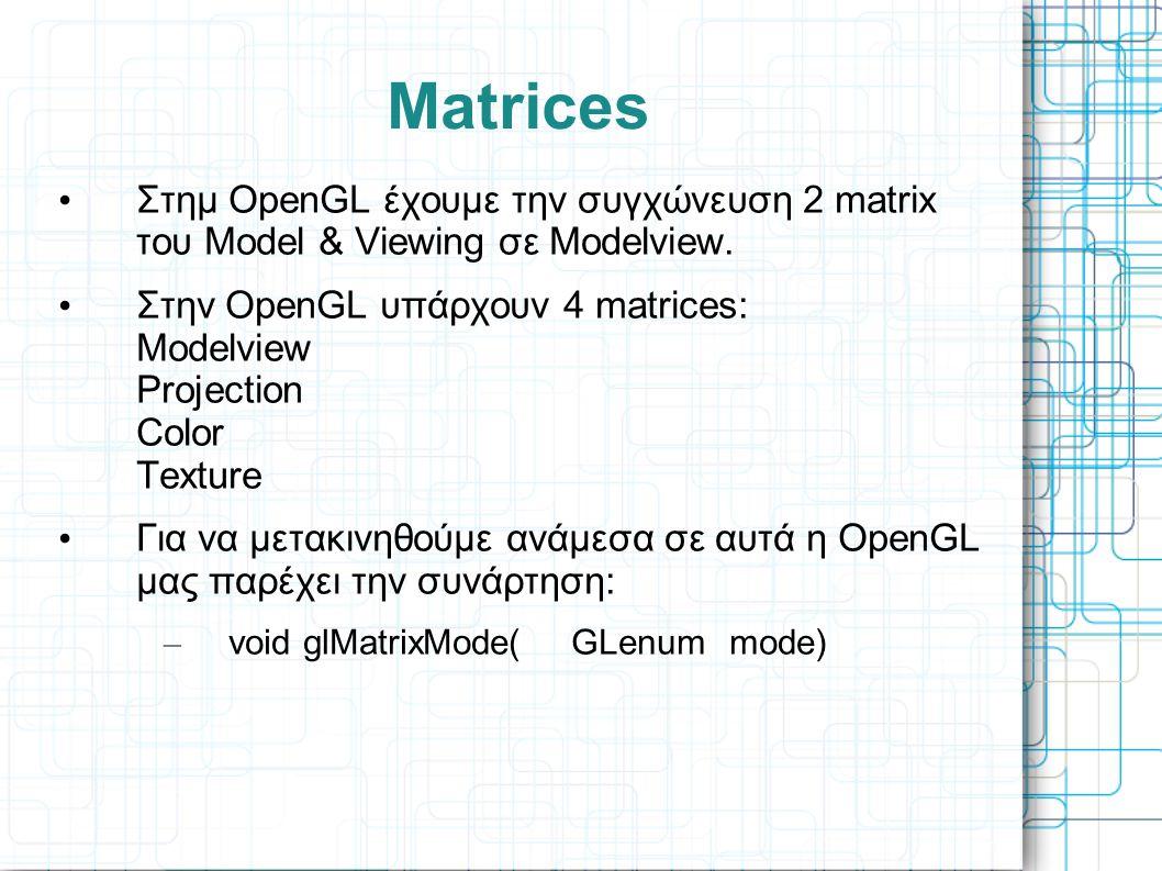 Matrices Στημ OpenGL έχουμε την συγχώνευση 2 matrix του Model & Viewing σε Modelview.