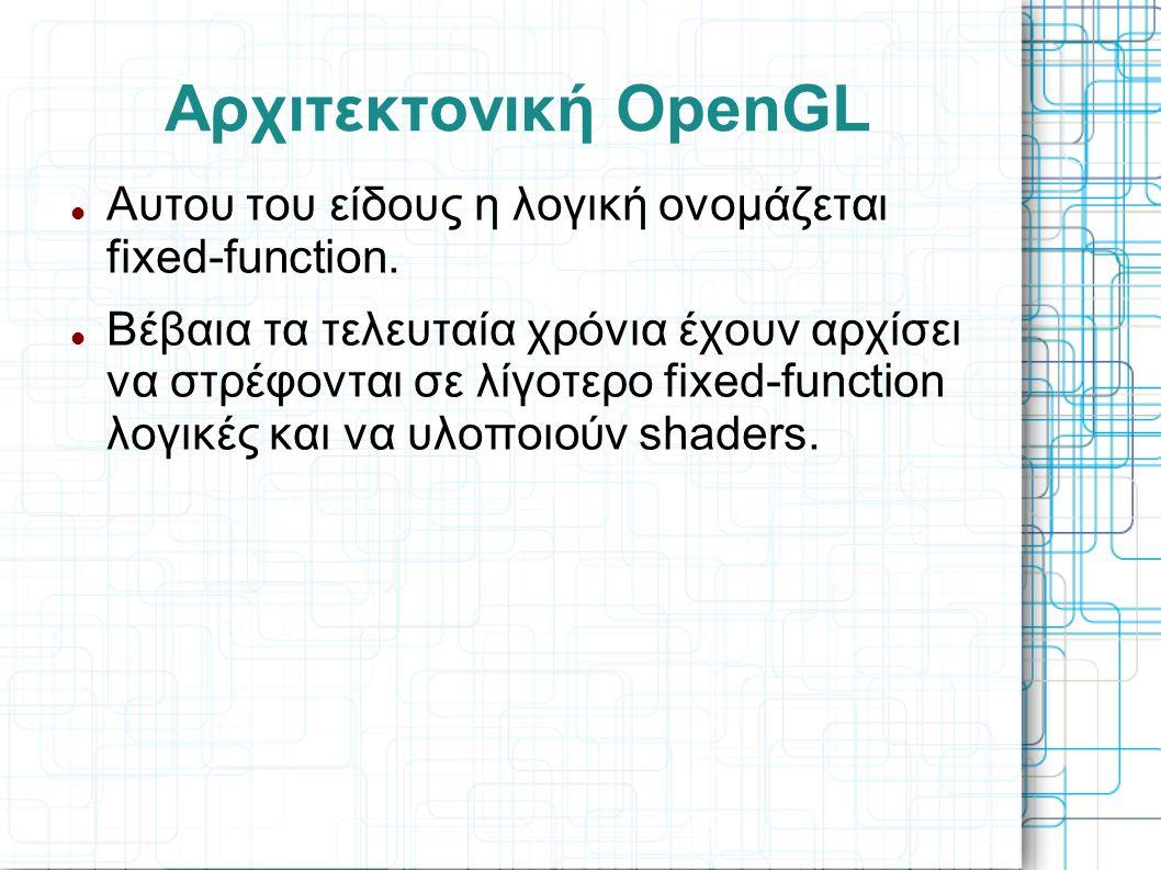 Αρχιτεκτονική OpenGL Αυτου του είδους η λογική ονομάζεται fixed-function.