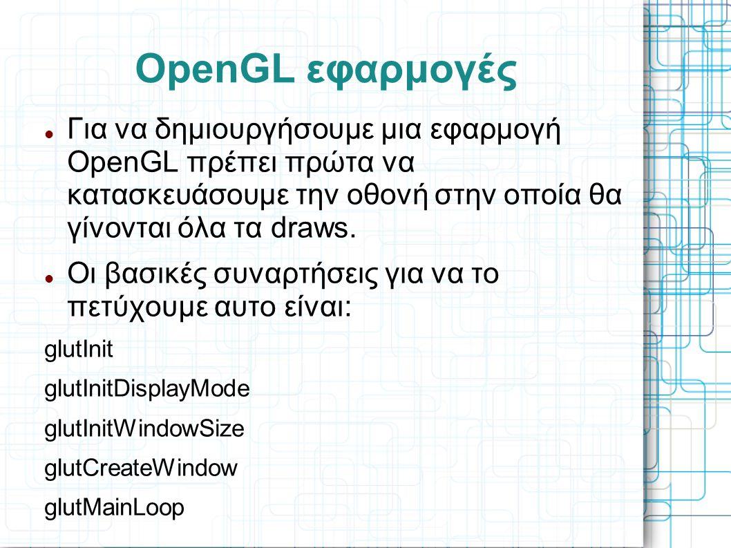 OpenGL εφαρμογές Για να δημιουργήσουμε μια εφαρμογή OpenGL πρέπει πρώτα να κατασκευάσουμε την οθονή στην οποία θα γίνονται όλα τα draws.