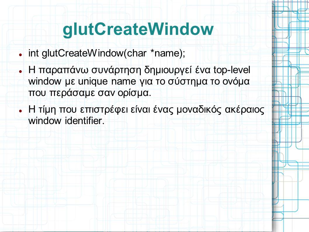 glutCreateWindow int glutCreateWindow(char *name);
