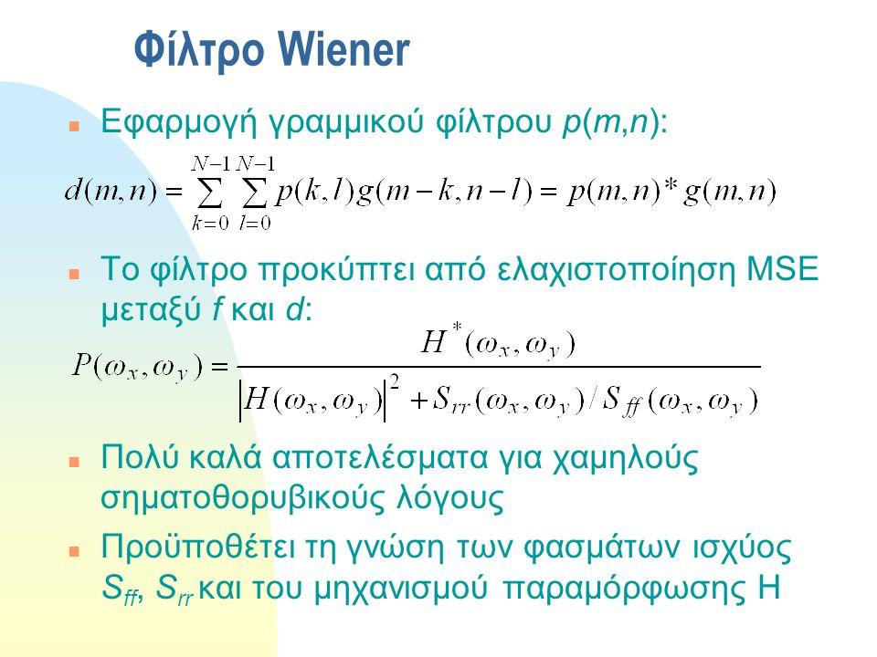 Φίλτρο Wiener Εφαρμογή γραμμικού φίλτρου p(m,n):