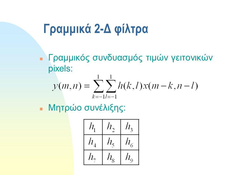Γραμμικά 2-Δ φίλτρα Γραμμικός συνδυασμός τιμών γειτονικών pixels: