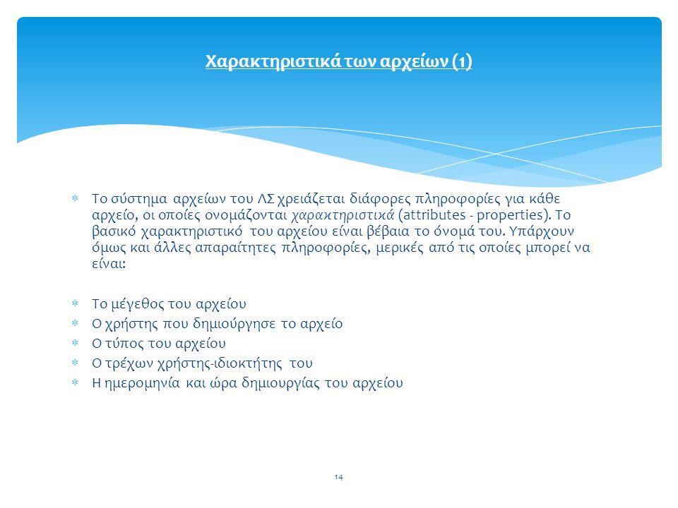 Χαρακτηριστικά των αρχείων (1)