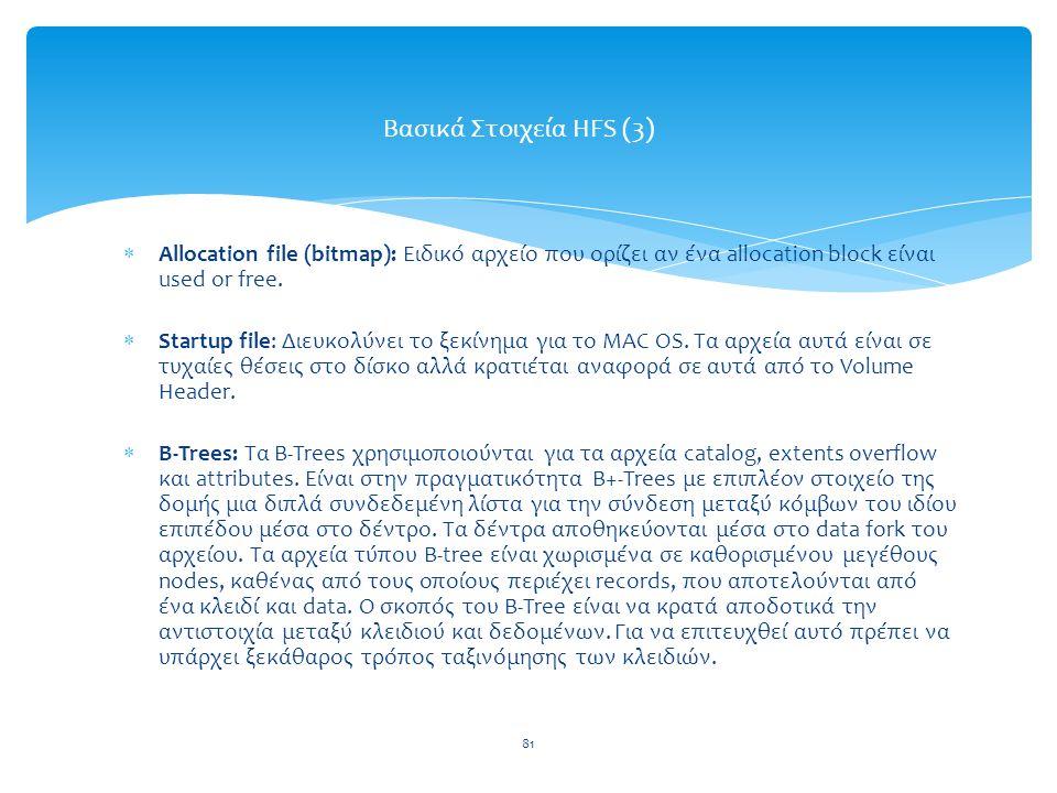 Βασικά Στοιχεία HFS (3) Allocation file (bitmap): Ειδικό αρχείο που ορίζει αν ένα allocation block είναι used or free.