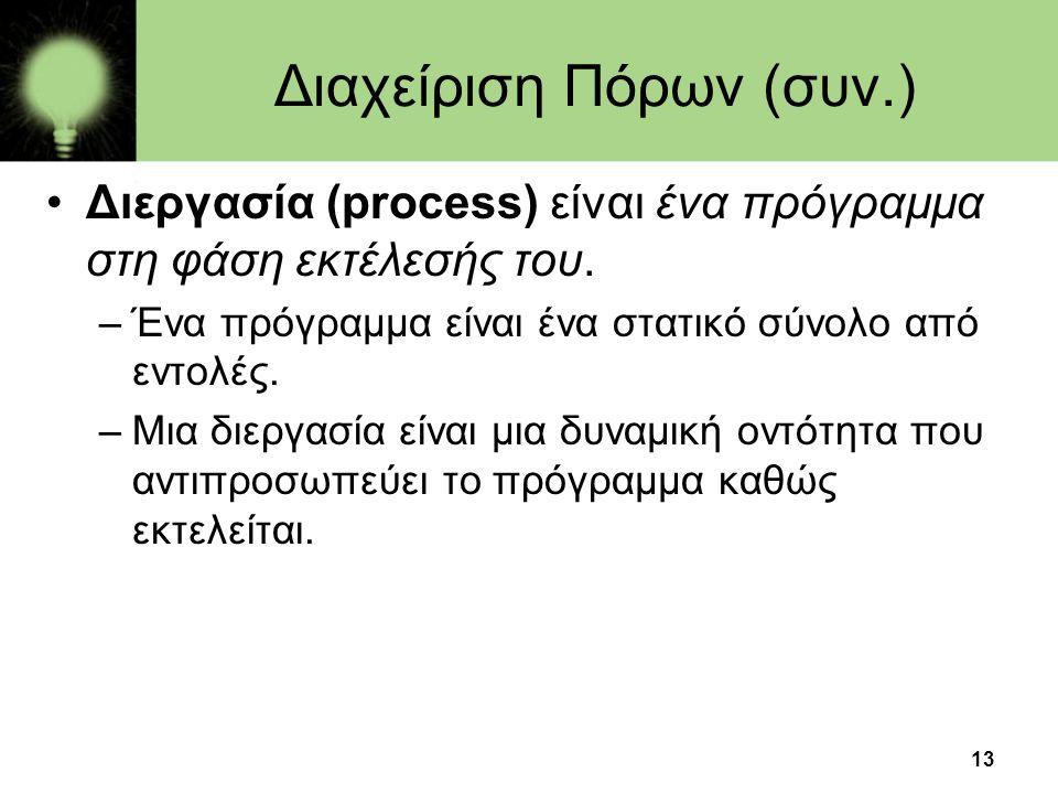 Διαχείριση Πόρων (συν.)
