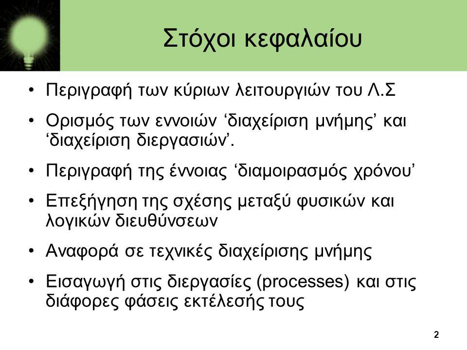 Στόχοι κεφαλαίου Περιγραφή των κύριων λειτουργιών του Λ.Σ