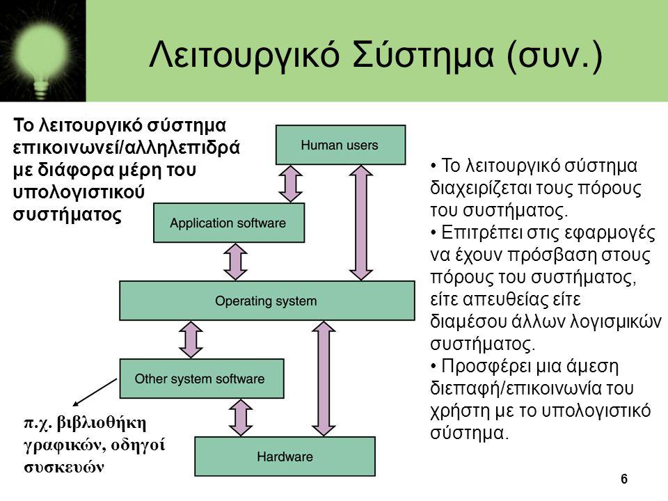 Λειτουργικό Σύστημα (συν.)