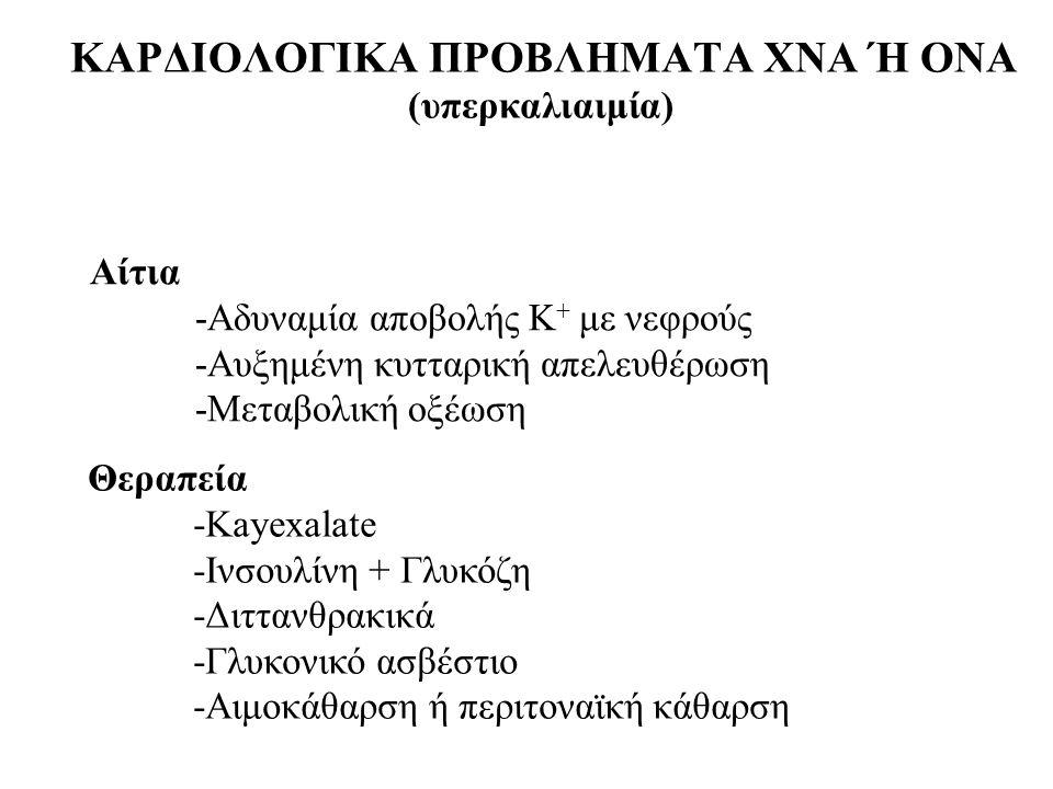 ΚΑΡΔΙΟΛΟΓΙΚΑ ΠΡΟΒΛΗΜΑΤΑ ΧΝΑ Ή ΟΝΑ (υπερκαλιαιμία)