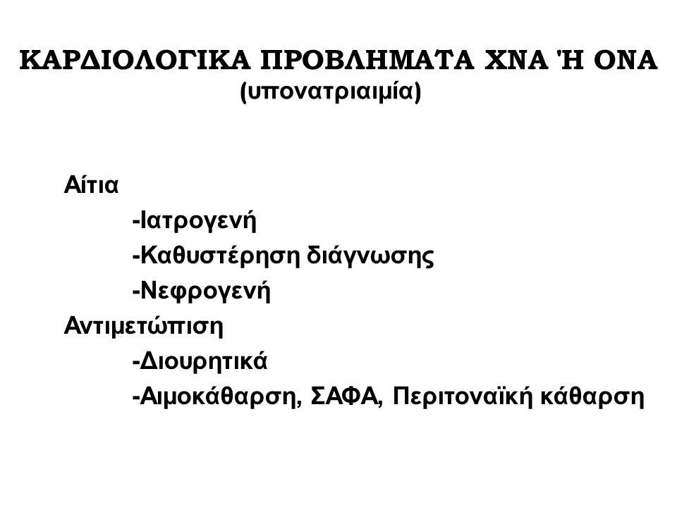 ΚΑΡΔΙΟΛΟΓΙΚΑ ΠΡΟΒΛΗΜΑΤΑ ΧΝΑ Ή ΟΝΑ (υπονατριαιμία)