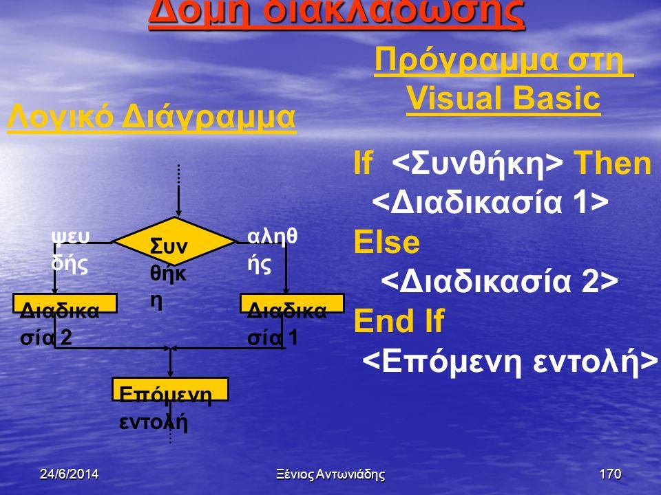 Δομή διακλάδωσης Πρόγραμμα στη Visual Basic Λογικό Διάγραμμα