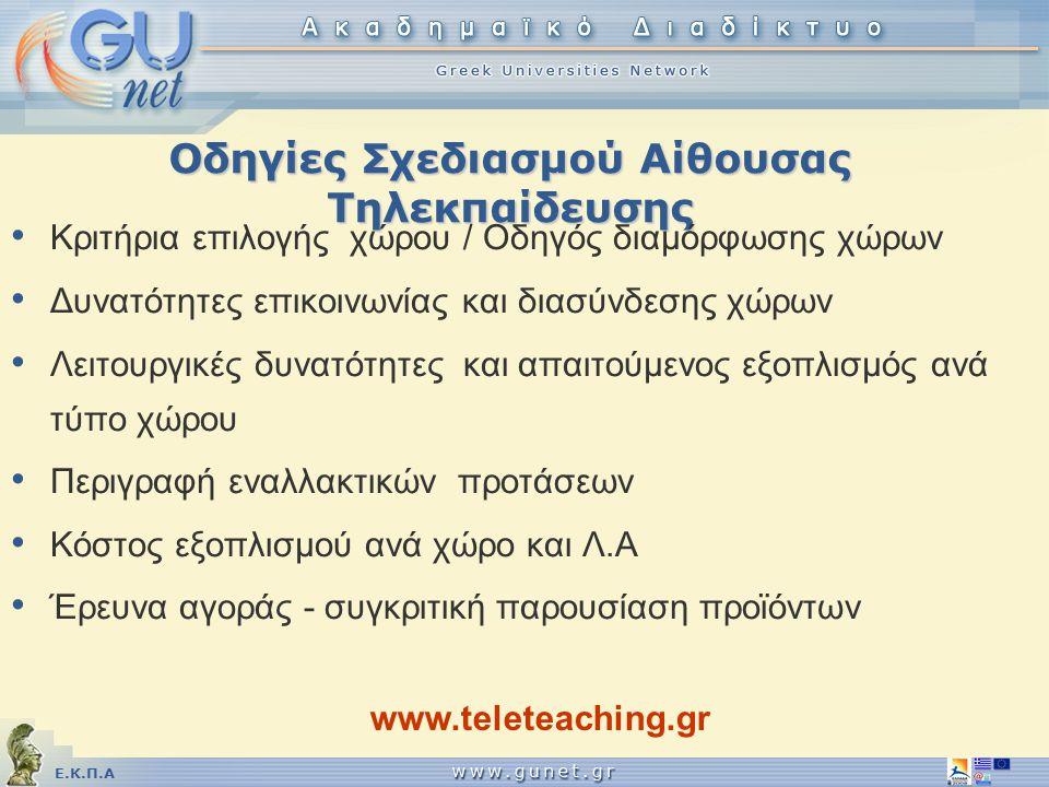 Οδηγίες Σχεδιασμού Αίθουσας Τηλεκπαίδευσης