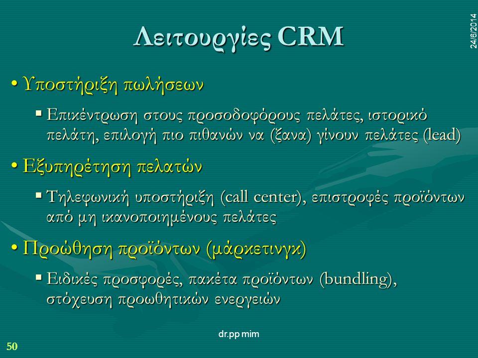Λειτουργίες CRM Υποστήριξη πωλήσεων Εξυπηρέτηση πελατών