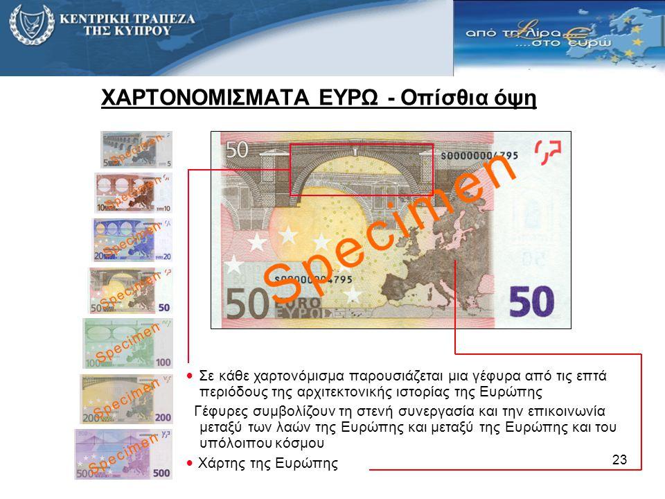 ΧΑΡΤΟΝΟΜΙΣΜΑΤΑ ΕΥΡΩ - Οπίσθια όψη