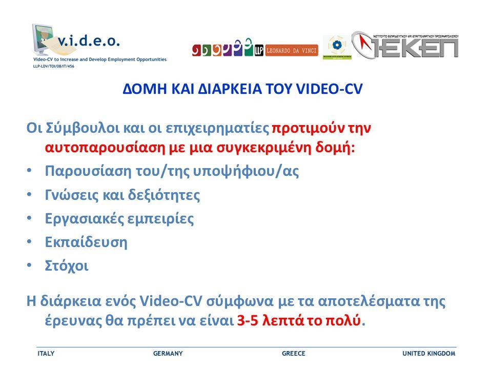 ΔΟΜΗ ΚΑΙ ΔΙΑΡΚΕΙΑ ΤΟΥ VIDEO-CV