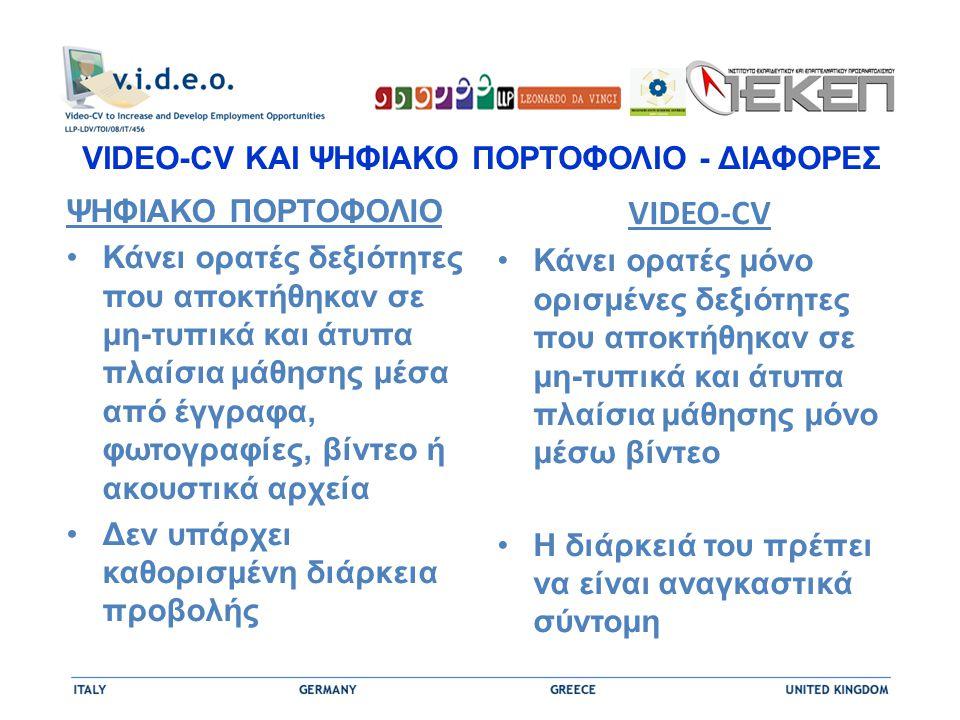 VIDEO-CV ΚΑΙ ΨΗΦΙΑΚΟ ΠΟΡΤΟΦΟΛΙΟ - ΔΙΑΦΟΡΕΣ