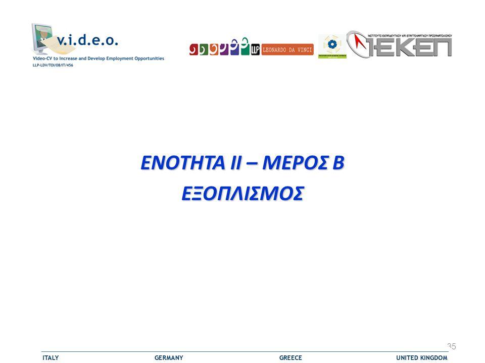 ΕΝΟΤΗΤΑ II – ΜΕΡΟΣ B ΕΞΟΠΛΙΣΜΟΣ