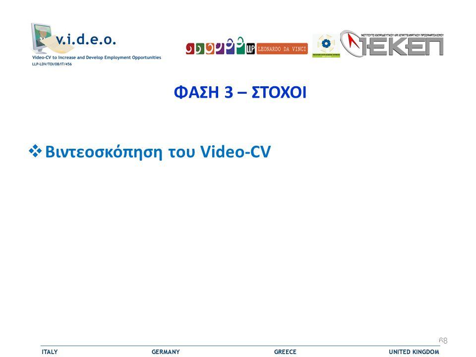 ΦΑΣΗ 3 – ΣΤΟΧΟΙ Βιντεοσκόπηση του Video-CV