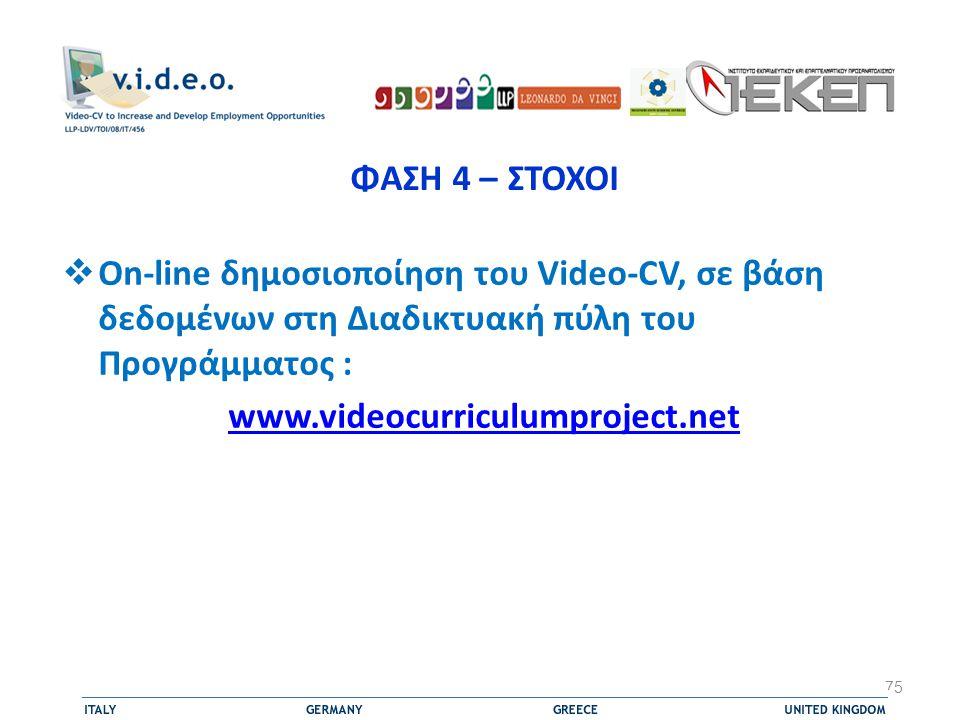 ΦΑΣΗ 4 – ΣΤΟΧΟΙ On-line δημοσιοποίηση του Video-CV, σε βάση δεδομένων στη Διαδικτυακή πύλη του Προγράμματος :