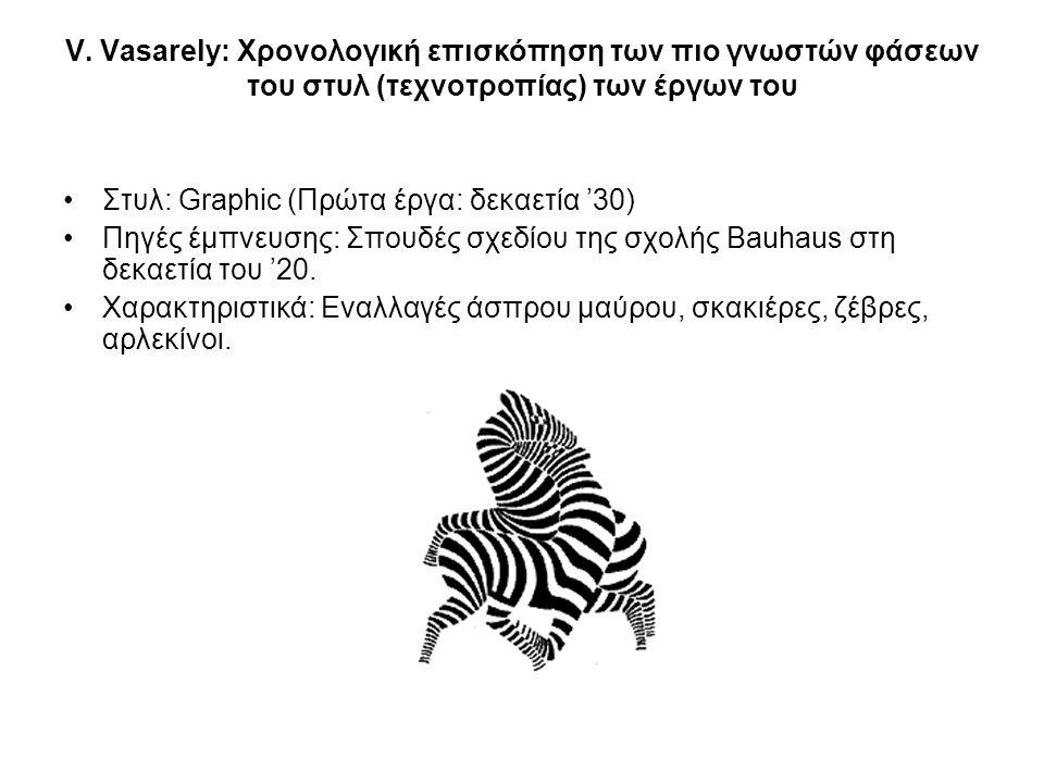V. Vasarely: Χρονολογική επισκόπηση των πιο γνωστών φάσεων του στυλ (τεχνοτροπίας) των έργων του