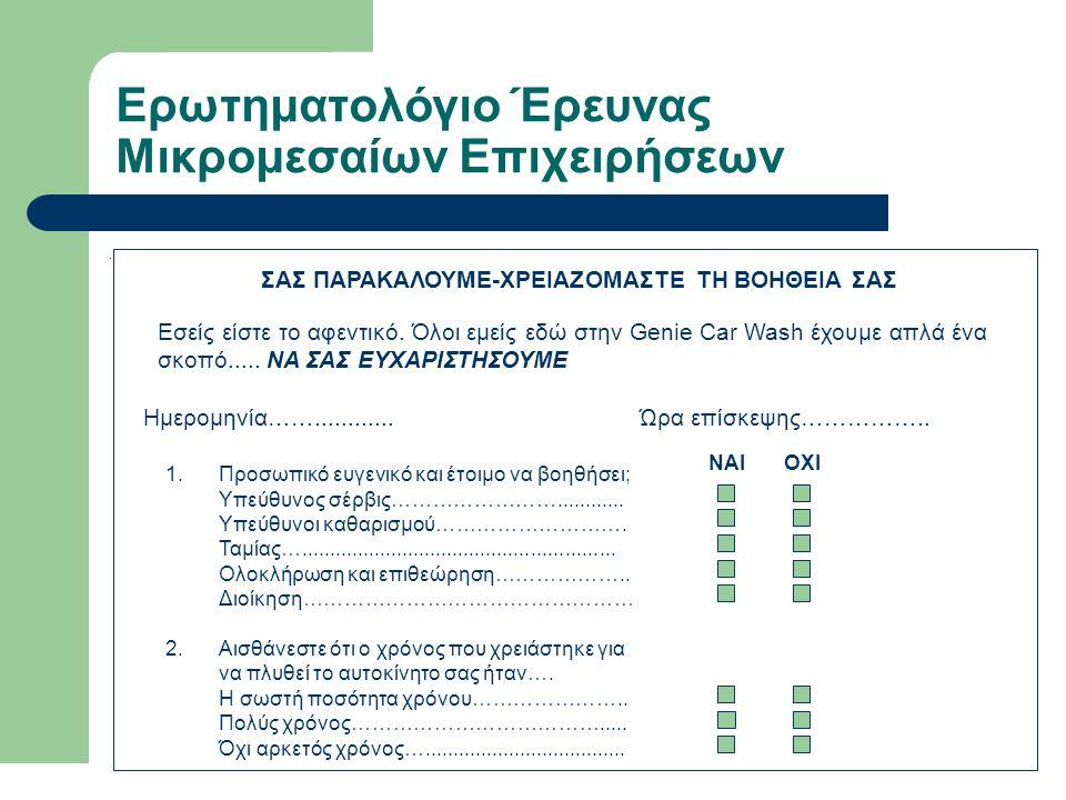 Ερωτηματολόγιο Έρευνας Μικρομεσαίων Επιχειρήσεων