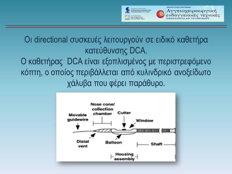 Οι directional συσκευές λειτουργούν σε ειδικό καθετήρα κατεύθυνσης DCA.