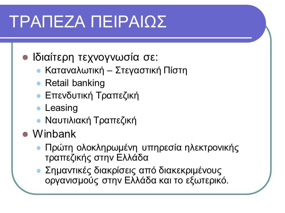 ΤΡΑΠΕΖΑ ΠΕΙΡΑΙΩΣ Ιδιαίτερη τεχνογνωσία σε: Winbank