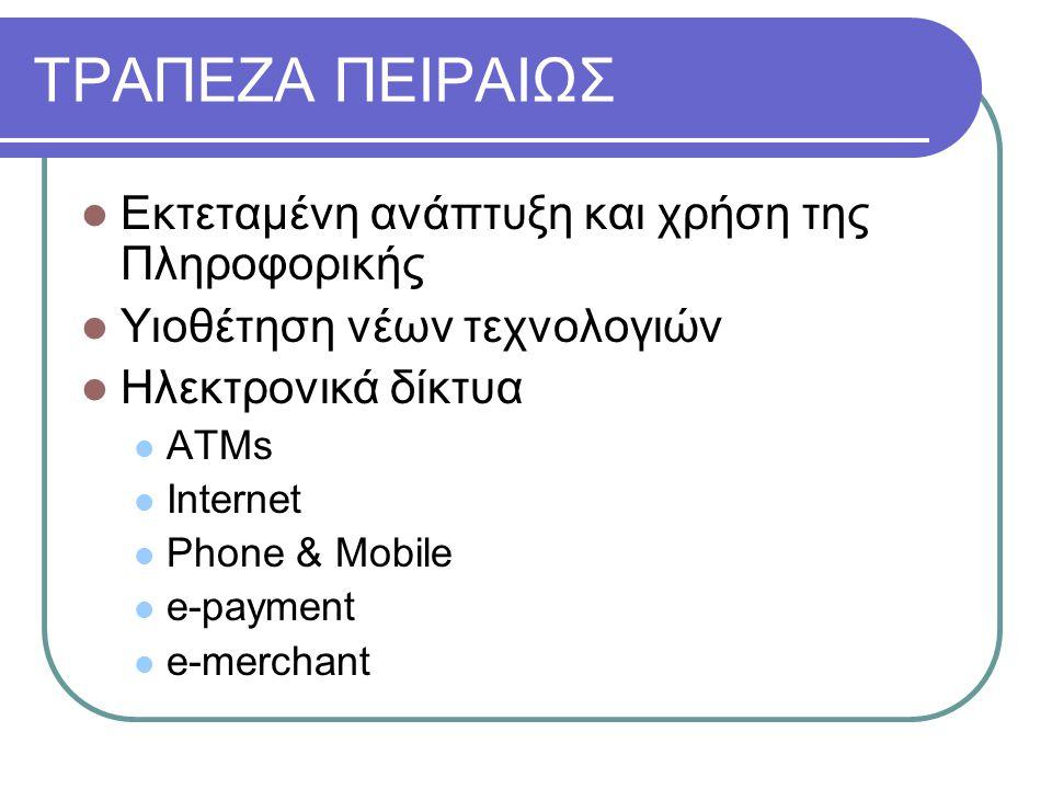 ΤΡΑΠΕΖΑ ΠΕΙΡΑΙΩΣ Εκτεταμένη ανάπτυξη και χρήση της Πληροφορικής