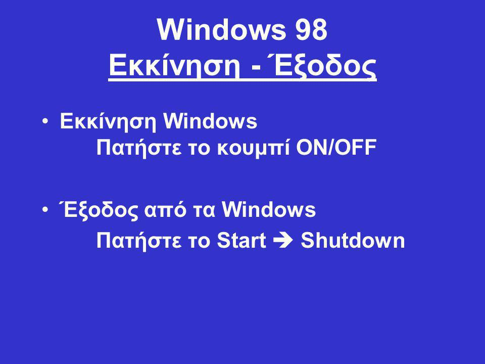 Windows 98 Εκκίνηση - Έξοδος