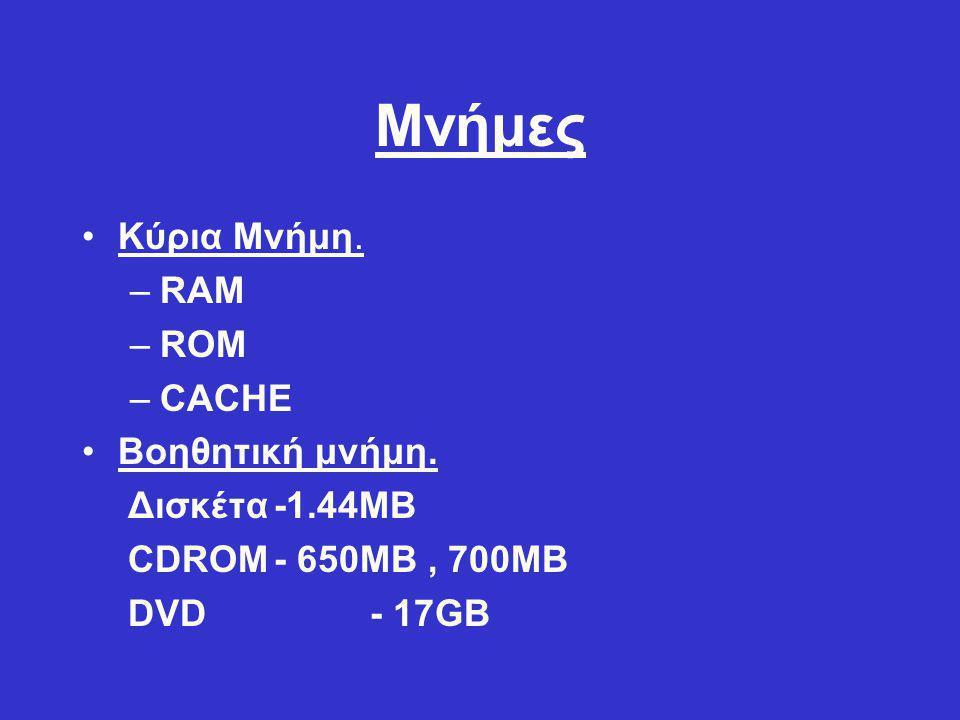 Μνήμες Κύρια Μνήμη. RAM ROM CACHE Βοηθητική μνήμη. Δισκέτα -1.44MB