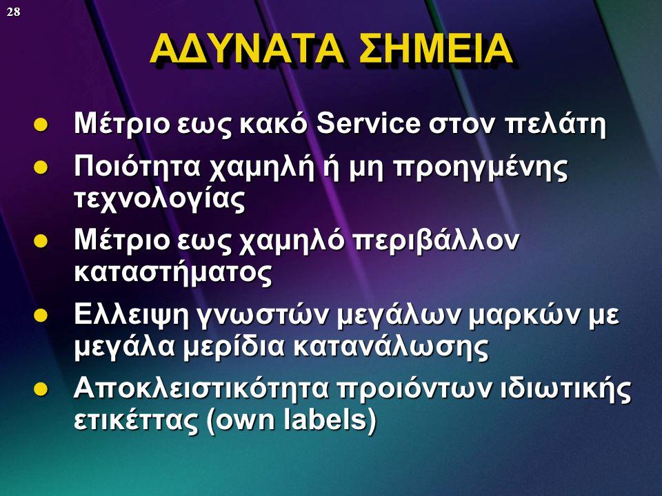 ΑΔΥΝΑΤΑ ΣΗΜΕΙΑ Μέτριο εως κακό Service στον πελάτη