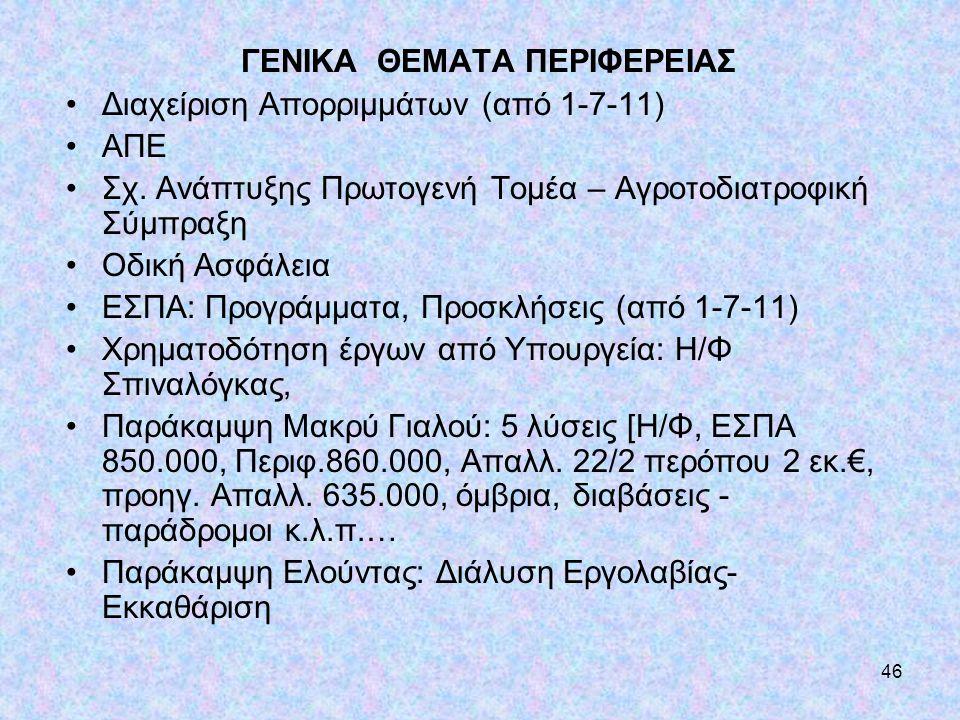 ΓΕΝΙΚΑ ΘΕΜΑΤΑ ΠΕΡΙΦΕΡΕΙΑΣ