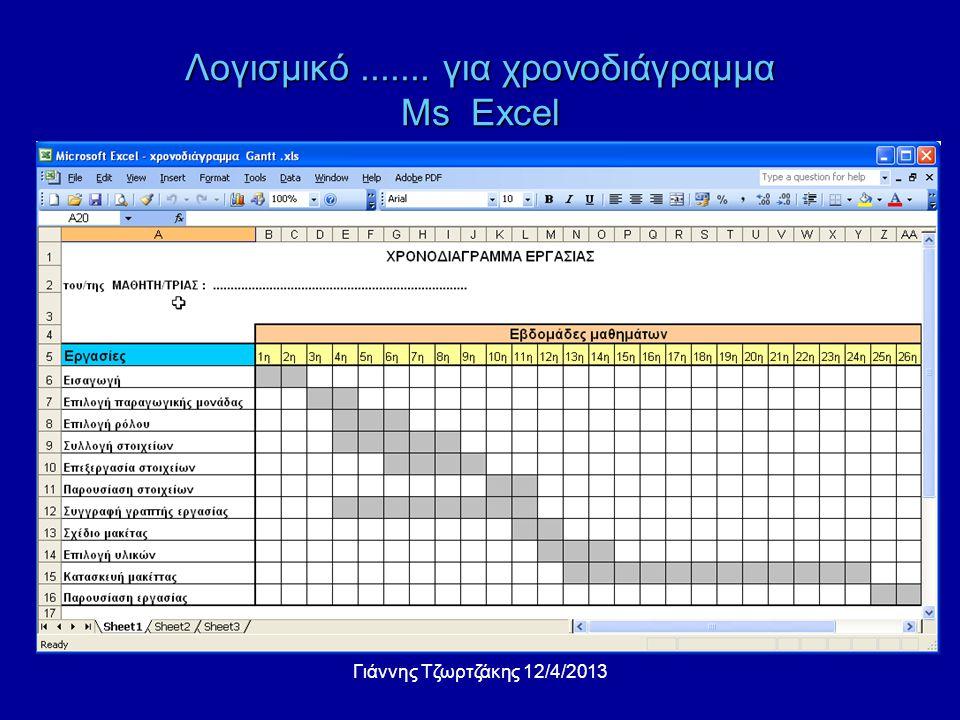 Λογισμικό ....... για χρονοδιάγραμμα Ms Excel