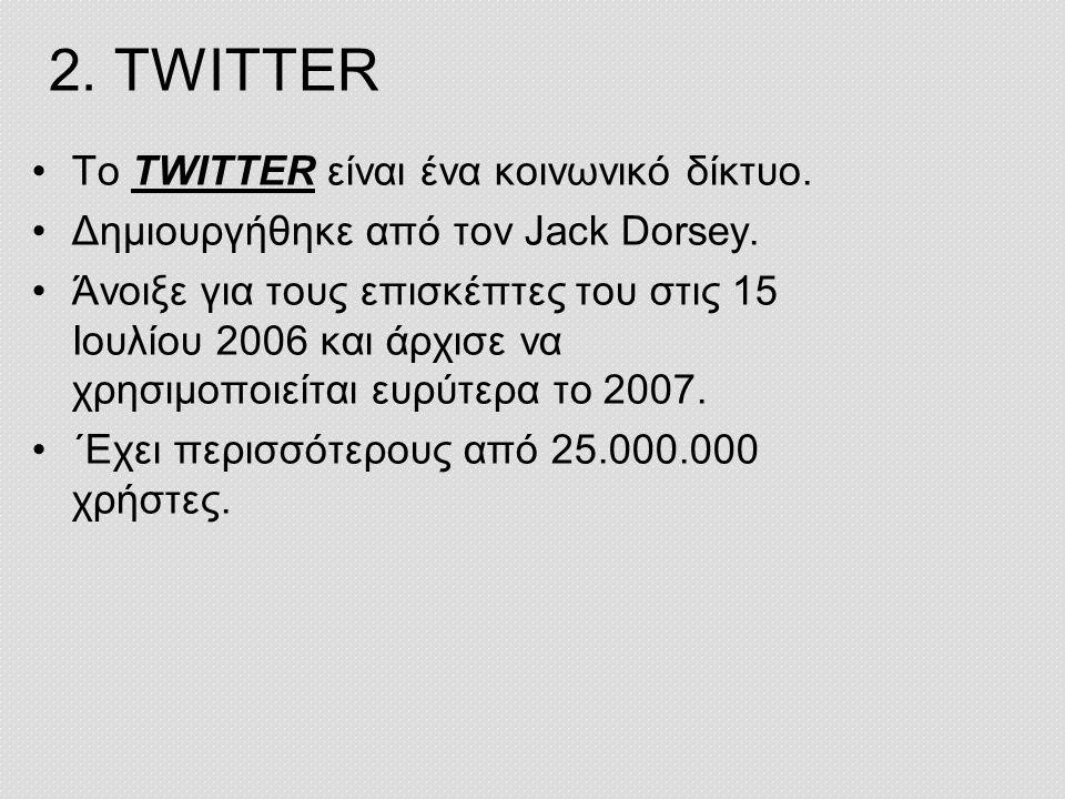 2. TWITTER Το TWITTER είναι ένα κοινωνικό δίκτυο.