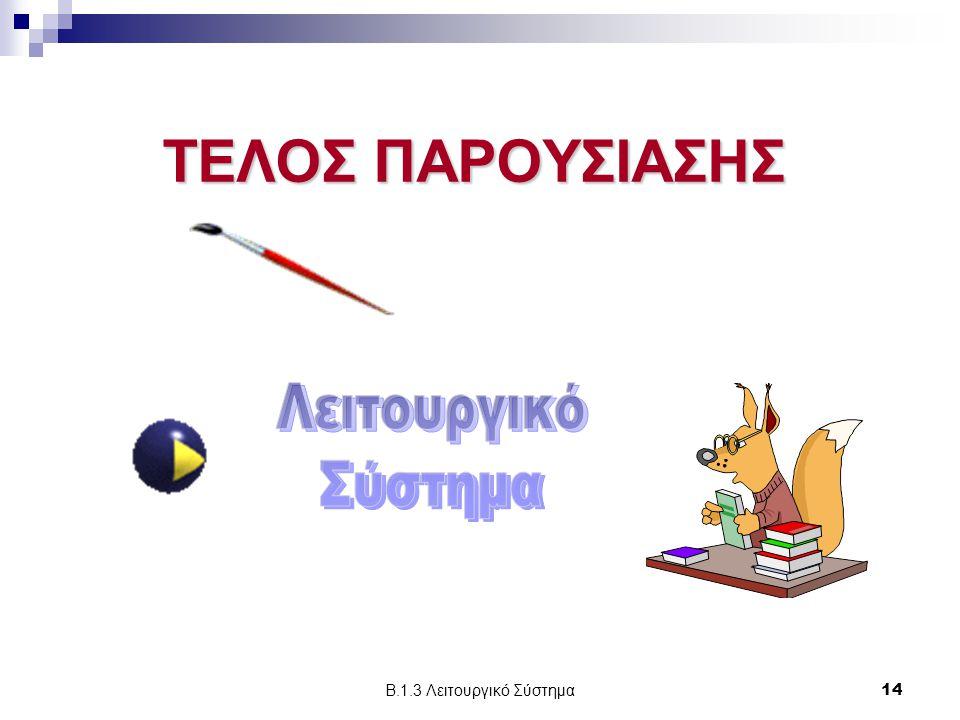 ΤΕΛΟΣ ΠΑΡΟΥΣΙΑΣΗΣ Λειτουργικό Σύστημα Β.1.3 Λειτουργικό Σύστημα