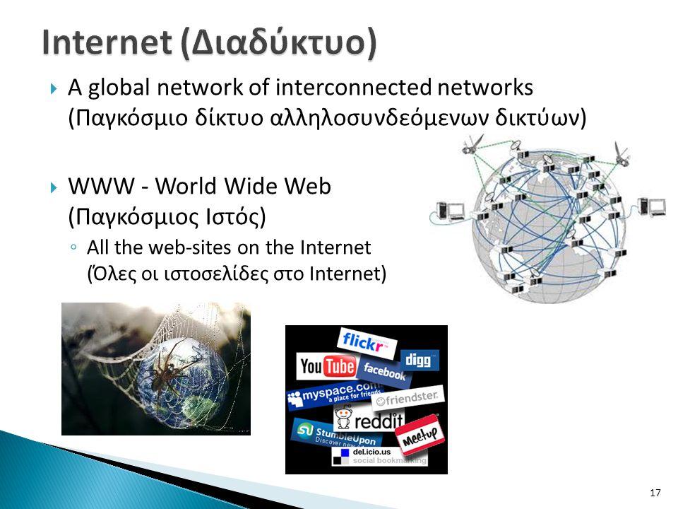 Internet (Διαδύκτυο) A global network of interconnected networks (Παγκόσμιο δίκτυο αλληλοσυνδεόμενων δικτύων)