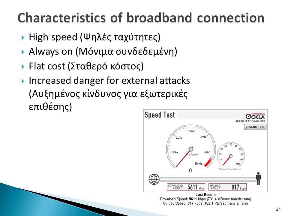 Characteristics of broadband connection