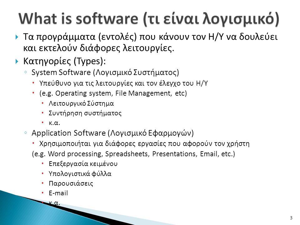 What is software (τι είναι λογισμικό)
