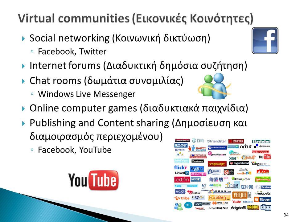 Virtual communities (Εικονικές Κοινότητες)