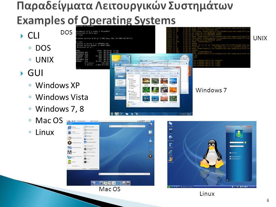 Παραδείγματα Λειτουργικών Συστημάτων Examples of Operating Systems