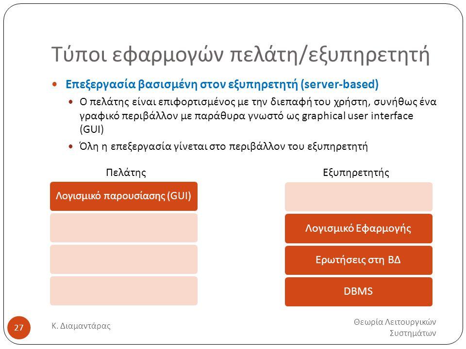 Τύποι εφαρμογών πελάτη/εξυπηρετητή