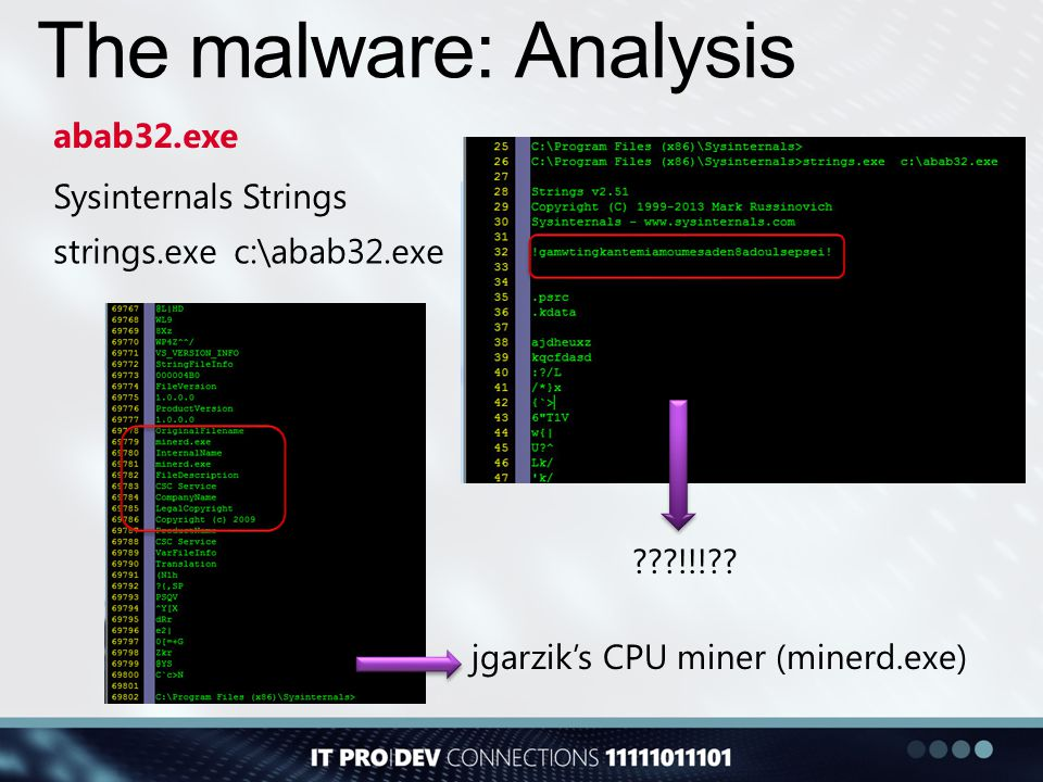 The malware: Analysis abab32.exe Sysinternals Strings