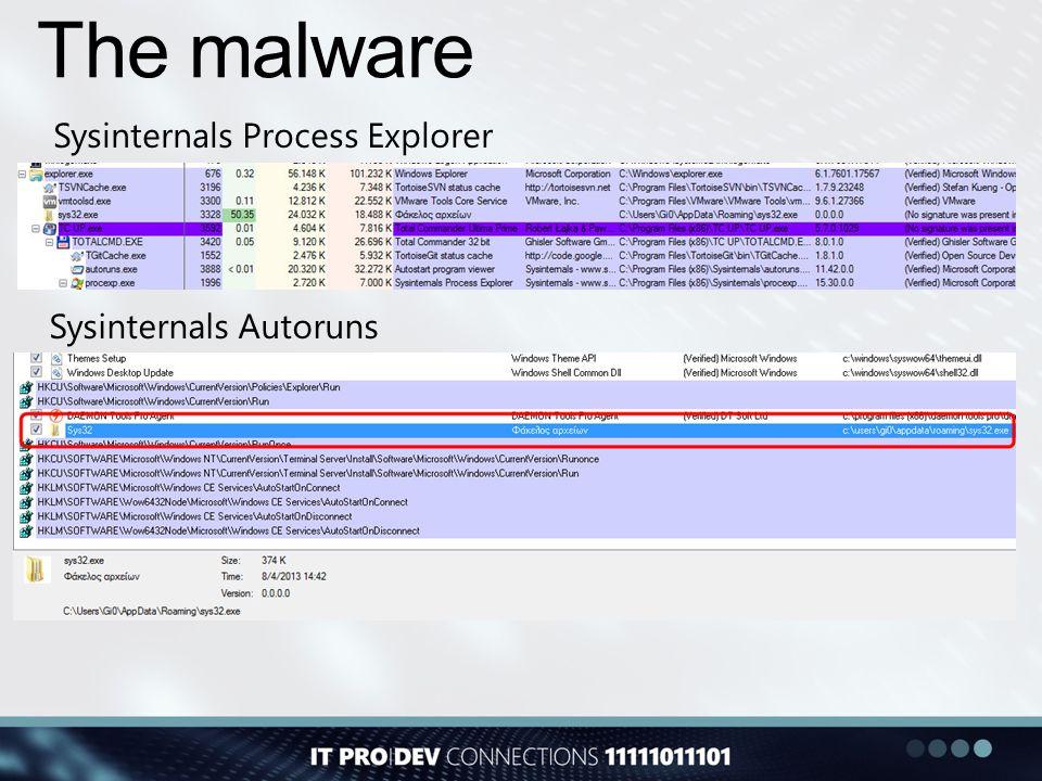 The malware Sysinternals Process Explorer Sysinternals Autoruns