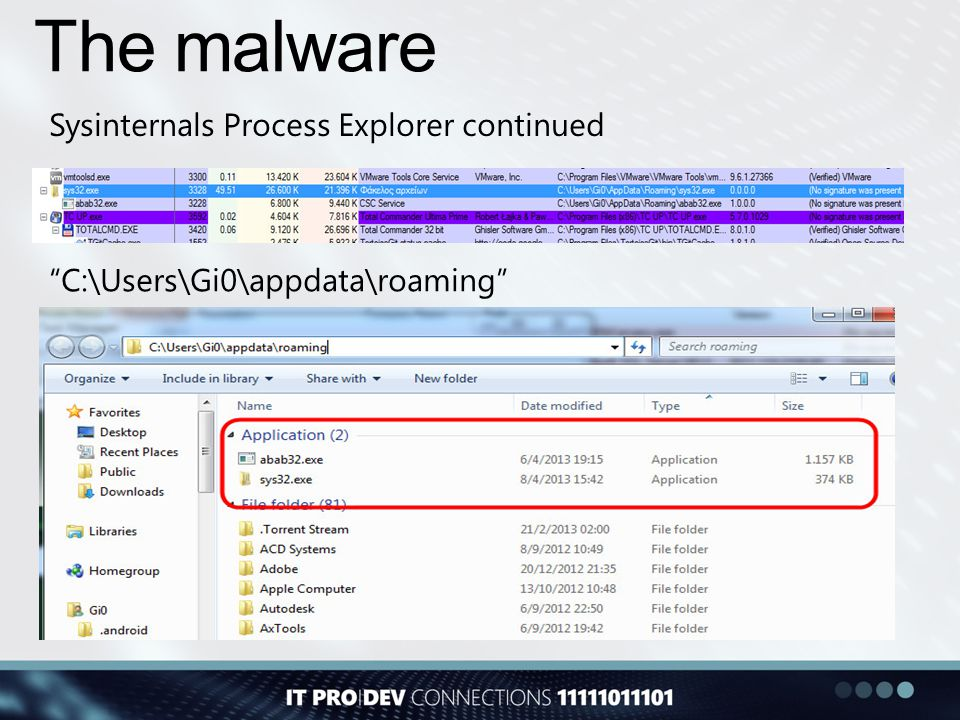 The malware Sysinternals Process Explorer continued