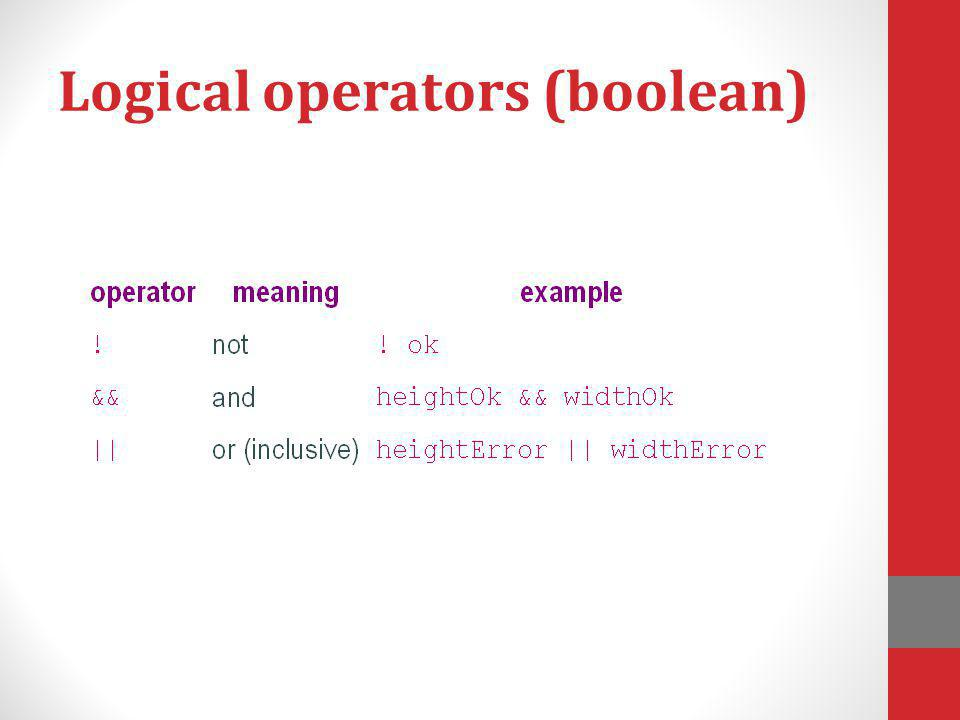 Logical operators (boolean)