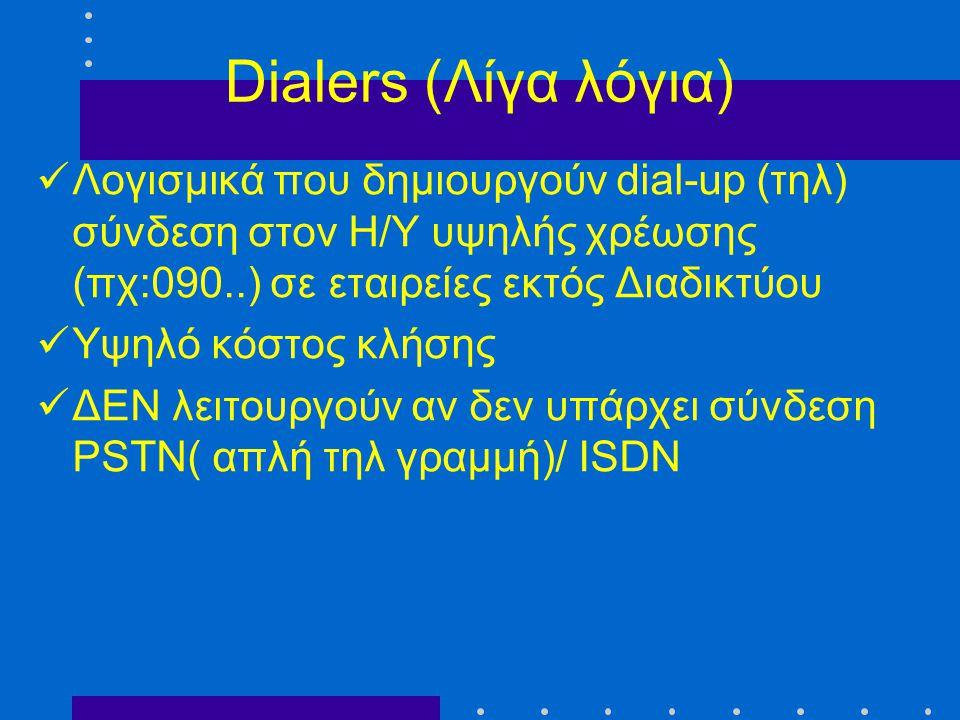 Dialers (Λίγα λόγια) Λογισμικά που δημιουργούν dial-up (τηλ) σύνδεση στον Η/Υ υψηλής χρέωσης (πχ:090..) σε εταιρείες εκτός Διαδικτύου.