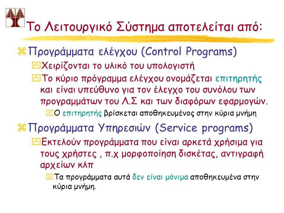 Το Λειτουργικό Σύστημα αποτελείται από:
